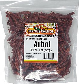 Chile De Arbol 8oz bag