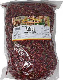 Chile De Arbol Whole 5lb bag Food Service Pack